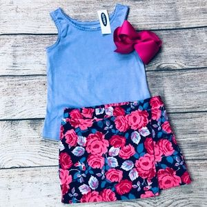 Girls 2T Floral Skirt & Tank Set
